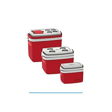 Imagem de Kit 3 Caixa Térmica 32, 12 e 5 Litros Vermelha – Soprano