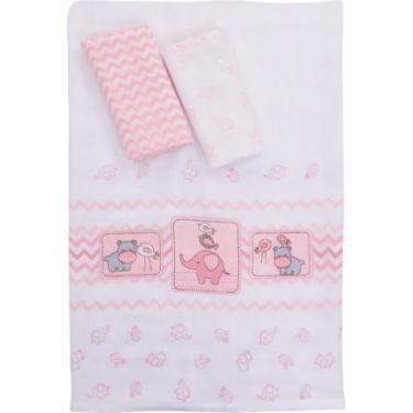Kit Fraldas Infantil Colibri Baby Estampado - 100% Algodão - 03 Peças - Amiguinhos Rosa