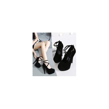 Sapatos femininos de salto fino casual de primavera. Sapatos de salto alto superficiais redondos cool 10460