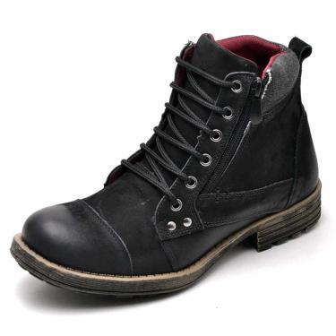 af227103bd Bota Coturno em Couro Geex Calçados Preto masculino