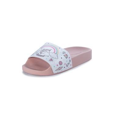 Chinelo Inf. Fem. Molekinha Slide Unicórnio branco/rose-2311