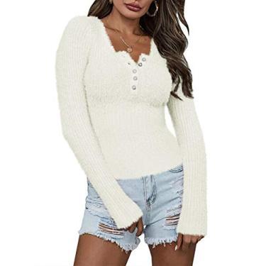 Jeanewpole1 Suéter feminino de malha com gola V difusa slim fit manga comprida pulôver liso, Branco, XL