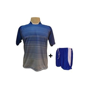 Uniforme Esportivo com 12 camisas modelo City Royal/Branco + 12 calções modelo Copa Royal/Branco +