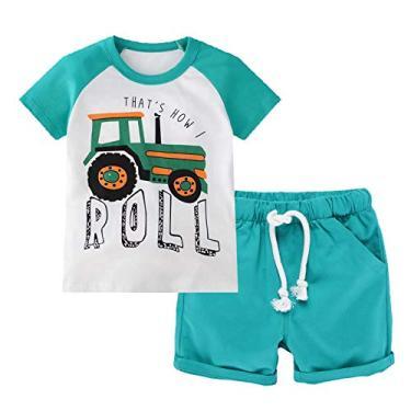 Conjuntos de roupas de verão para meninos de manga curta e shorts roupas para brincar 2 peças 2-7 anos, 2101#blueroll, 2T