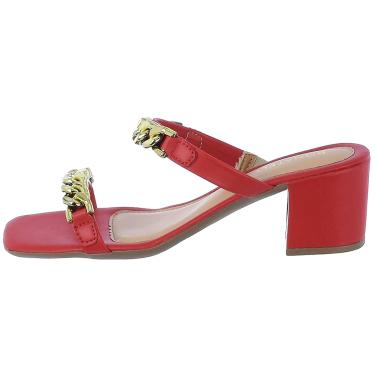 Imagem de Sandália Feminina Tamanco Salto Alto Bloco Donatella Shoes de Tira Duas Correntes Vermelho  feminino