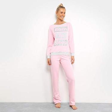 d2c20b504 Pijama Sonnovicci Moletinho Longo Feminino - Cinza+rosa - G