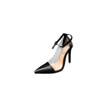 Imagem de Sandálias pontudas femininas com tira no tornozelo bombas de salto alto sandálias de salto agulha sapatos de festa cool29227