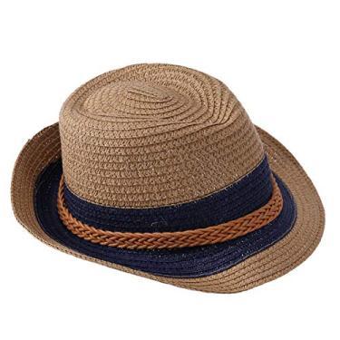 Chapéu de palha infantil unissex primavera verão praia proteção solar chapéu de sol aba curta com fivela (Cáqui)