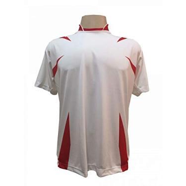 Imagem de Jogo de Camisa com 14 unidades modelo Palermo Branco/Vermelho + 1 Goleiro + Brindes