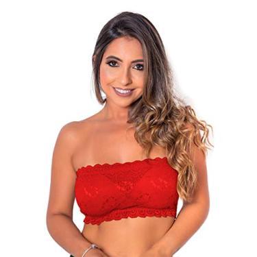 Sutiã Top Renda Com Bojo Cores Lisas Multicor (Vermelho, G)