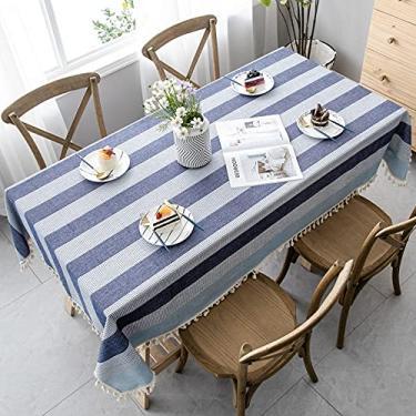 Imagem de Toalha de mesa retangular de borla com listras azuis - 130 x 233 cm, toalha de mesa de poliéster lavável com acabamento em renda para decoração de cozinha, jantar, restaurante, mesa da Midsummer Breeze