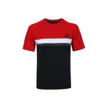296cacaeb73 Camiseta com Proteção Solar UV adidas Club Colorblock TD - Masculina - PRETO  VERMELHO adidas