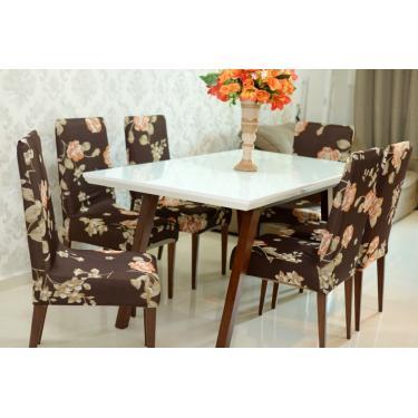 Capa Para Cadeira De Malha Kit 6 Unidades Cor Flores Outono