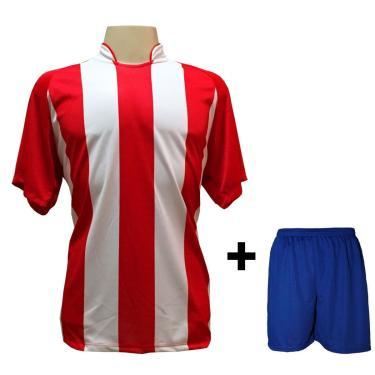 Uniforme Esportivo Com 18 Camisas Modelo Milan Vermelho/Branco + 18 Calções Modelo Madrid Royal + Brindes