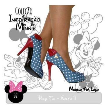 Sandália Pata Poá Azul Laço Vermelho Salto Alto Fino Mickey