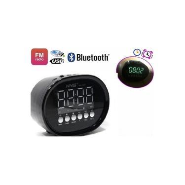 Caixa De Som Radio Relogio Despertador Digital Bluetooth Led Usb Sd Mp3 Fm