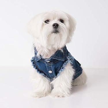 United Pups jaqueta jeans fashion para cães (azul gelado, tamanho 4)