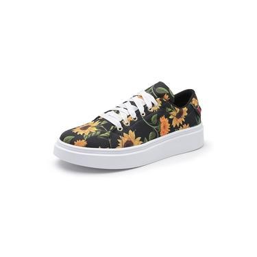 Sapatenis Feminino Top Franca Shoes Floral Preto Laranja