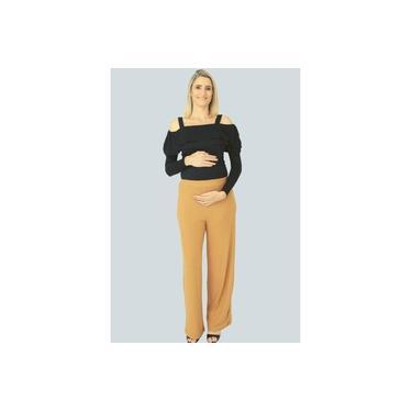 Calça Pantalona Greta Gestante - Caramelo