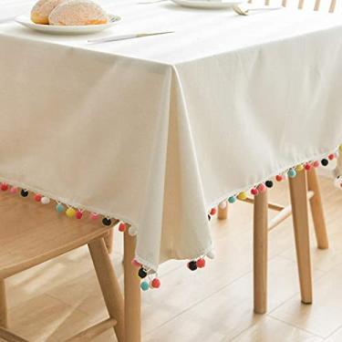 Imagem de Cobertura de mesa com borlas de 140 x 180 cm, toalha de mesa retangular de linho de algodão, toalha de mesa para mesa de cozinha, tecido durável, para sala de jantar de cozinha, festa para j