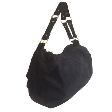 Bolsa feminina grande em camurça 2 alças transversal preta