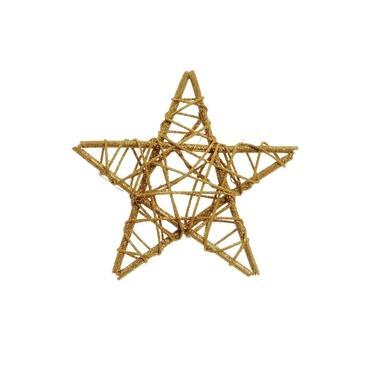 Estrela Rattan Decoração Natal 15Cm Dourado
