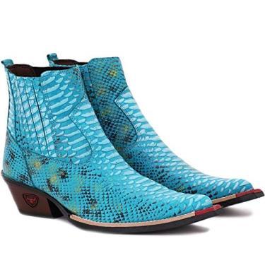 Bota Texana Masculina Country Botina Bico Fino Couro Jacaré Cor:Azul Claro;Tamanho:37