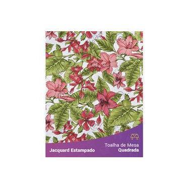 Imagem de Toalha De Mesa Quadrada Em Tecido Jacquard Estampado Flor Hibiscus Vermelho
