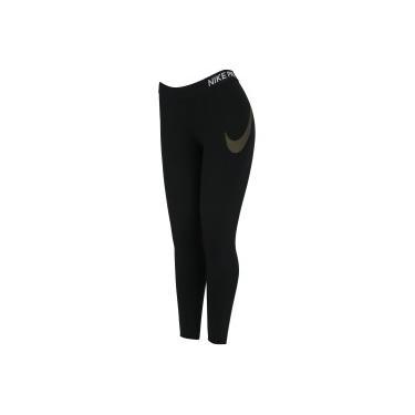 Calça Capri Nike Crop Tight MTLC GR - Feminina - PRETO OURO Nike e4c932bf6ed8b