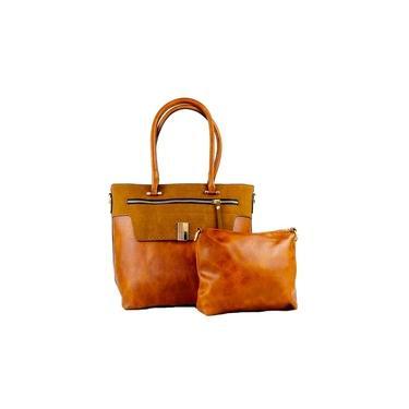 Bolsa feminina Paris caramelo com ziper alça de mão e transversal detalhes em dourado