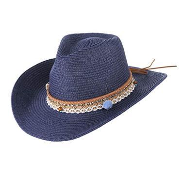 yotijar Chapéu Feminino de Palha de Verão com Aba Larga Flexível Chapéu de Sol Dobrável Boné Panamá - Azul escuro