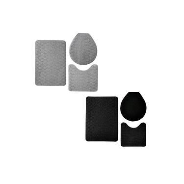 Imagem de Kit 2 Jogos de Tapetes Banheiro Relevo 3 Peças Preto e Prata Oasis