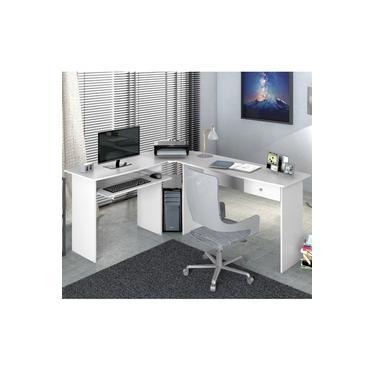 Mesa para Escritório em L 1 Gaveta Max Zanzini Branco Artico