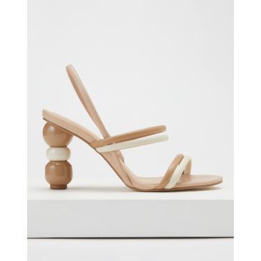 sandália tiras meia cana salto escultural