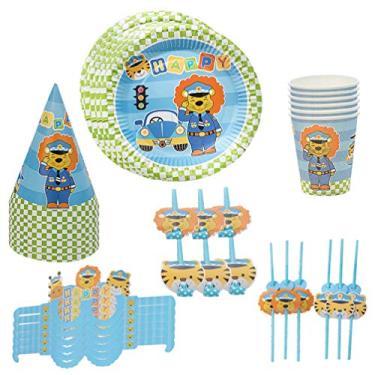 Imagem de Conjunto de louças descartáveis de aniversário para crianças AMOSFUN com tema de polícia de tigre, guardanapos para copo para festivais, aniversário, chá de bebê, aniversário