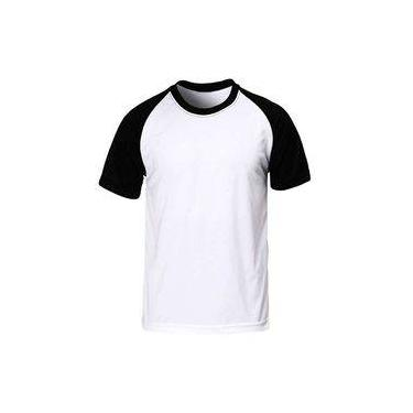 Camiseta Raglan Lisa Masculina - Branca 985186b7bf85c
