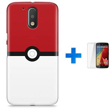 Kit Capa TPU Moto G4 Plus Pokemon Go Pokebola Pokeball + Pel Vidro (BD01)