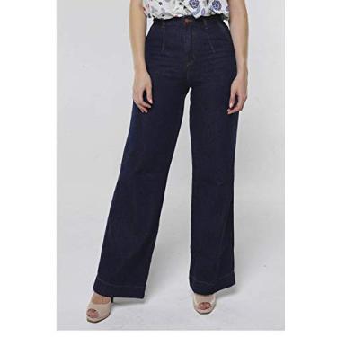 Calça Jeans Pantalona Cintura Super Alta Sob Azul EScuro (42)