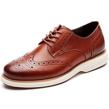 LAOKS sapato masculino Hybrid Brogue Oxford, com cadarço e ponta de asa, Marrom, 8.5