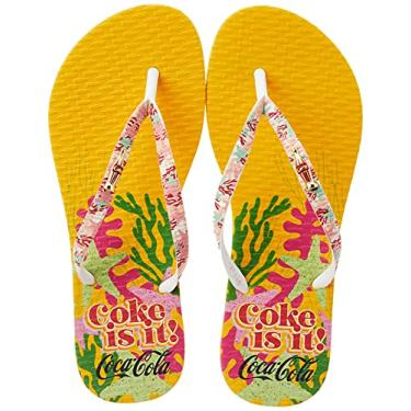 Imagem de Sandálias Coca-Cola, Coral Coke, Amarelo/Branco, Feminino, 38