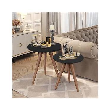 Imagem de Conjunto de Mesas Laterais e Apoio Decorativos Preto - Quality Móveis