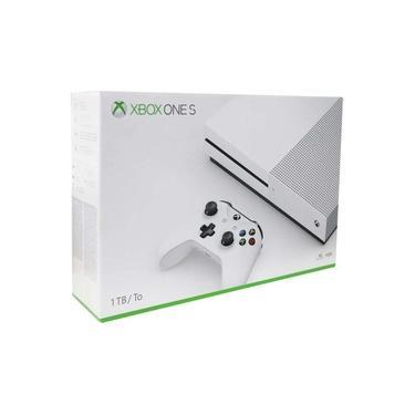 Console Xbox One S 1TB 4K Ultra HD HDR Bivolt Branco + Camiseta Xbox + Jogo Mídia Física Forza 7
