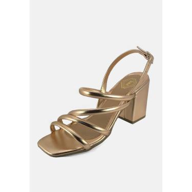 Sandália Salto Grosso Tiras Delas & Elas Tiras Rosê Metalizado Multicolorido  feminino