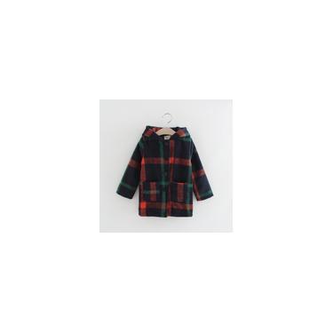 Casaco elegante xadrez infantil feminino com botão de fecho jaqueta com capuz Casaco de lã