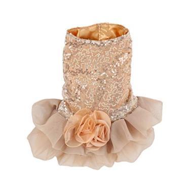 Imagem de ibasenice Vestido de casamento adorável elegante saia vestido de cachorro vestido formal roupas saias tamanho tamanho S (dourado)