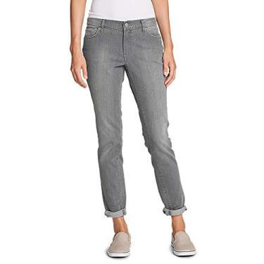 Eddie Bauer Calça jeans feminina estilo boyfriend – perna justa, River Rock (Grey), 8 Long