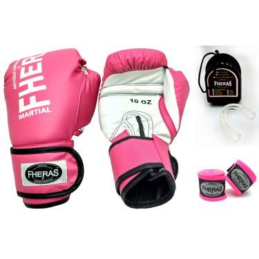 Kit Boxe Muay Thai Fheras Luva Bandagem Bucal 12oz Rosa