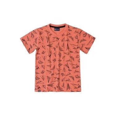 Camiseta Infantil Manga Curta Salmão Quimby
