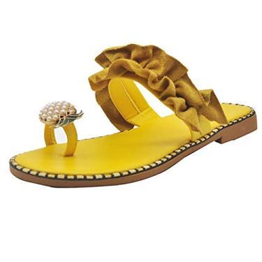 Imagem de Sumerlly Sandálias femininas modernas de abacaxi, bico aberto, anel, sandálias, antiderrapante, quente, verão, Amarelo. Estilo: renda, L: 24.1-24.5cm 9.5cm