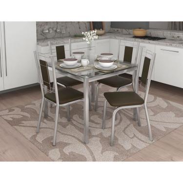 Imagem de Conjunto de Mesa com 4 Cadeiras Guilherme Cromado e Marrom